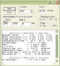 SNLO를 이용한 532nm 파장 변환 시뮬레이션 예 시: LBO 의 NCPM조건