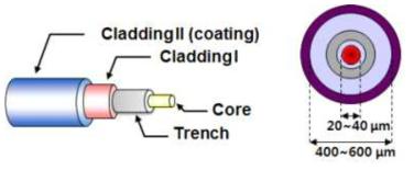 대면적 외부 굽힘 저손실 레이저 발진용 특수 광섬유 구조도