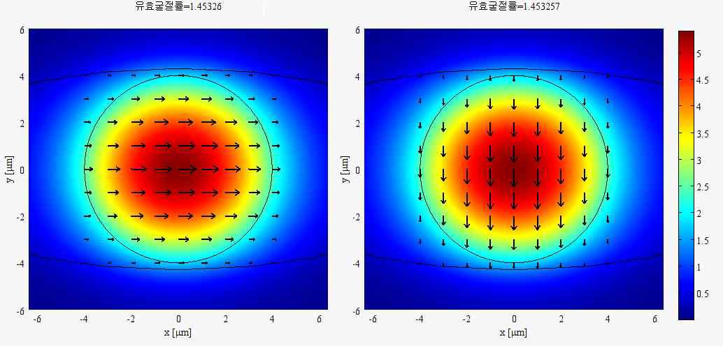 타원형 광섬유에서의 각 편광 모드에 대한 필드 분포와 유효굴절률