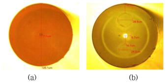 제조된 저출력용 PM 단일모드 Yb 첨가 저손실 특수 광섬유 단면 현미경 사진