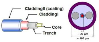 PM기반 고출력 저손실 레이저 발진용 대면적 특수 광섬유 구조도
