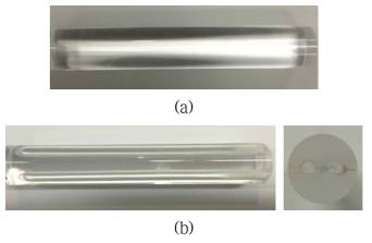 응력봉 형성을 위한 drilling 전(a)과 후(b)의 수동형 PM 기반 대면적 광섬유 모재
