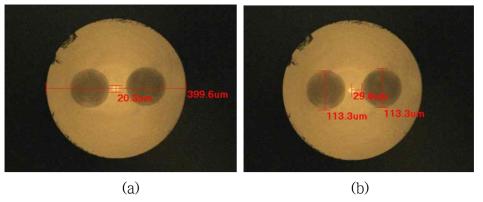 제조된 수동형 PM 기반 대면적 광섬유 단면 현미경 사진