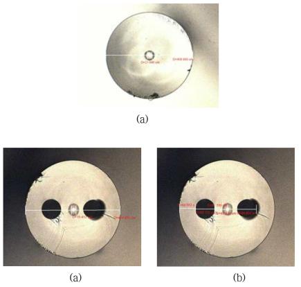 (a) 제조된 N-PM 기반 대면적 코어 수동형 광섬유 단면 현미경 사진, PM 기반 대면적 코어 수동형 광섬유 단면 현미경 사진 (b) 코어 및 클래딩 직경, (c) 코어-응력봉 간격 및 응력봉 직경