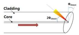 Angled cleaving 각도에 따른 반사광 입사 조건