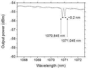 LR PM 광섬유 격자 제작 특성 그래프