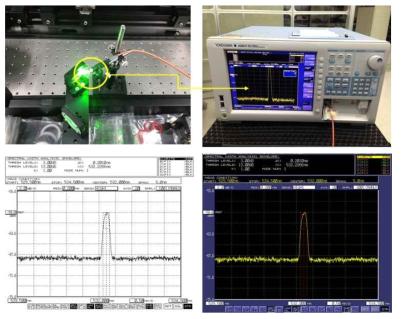 532nm 파장 변환 레이저 광원 스펙트럼 측정 사진