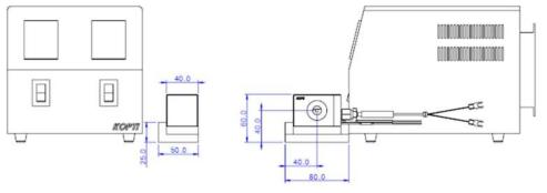 설계된 오븐과 온도 조절기의 전면/측면 모습