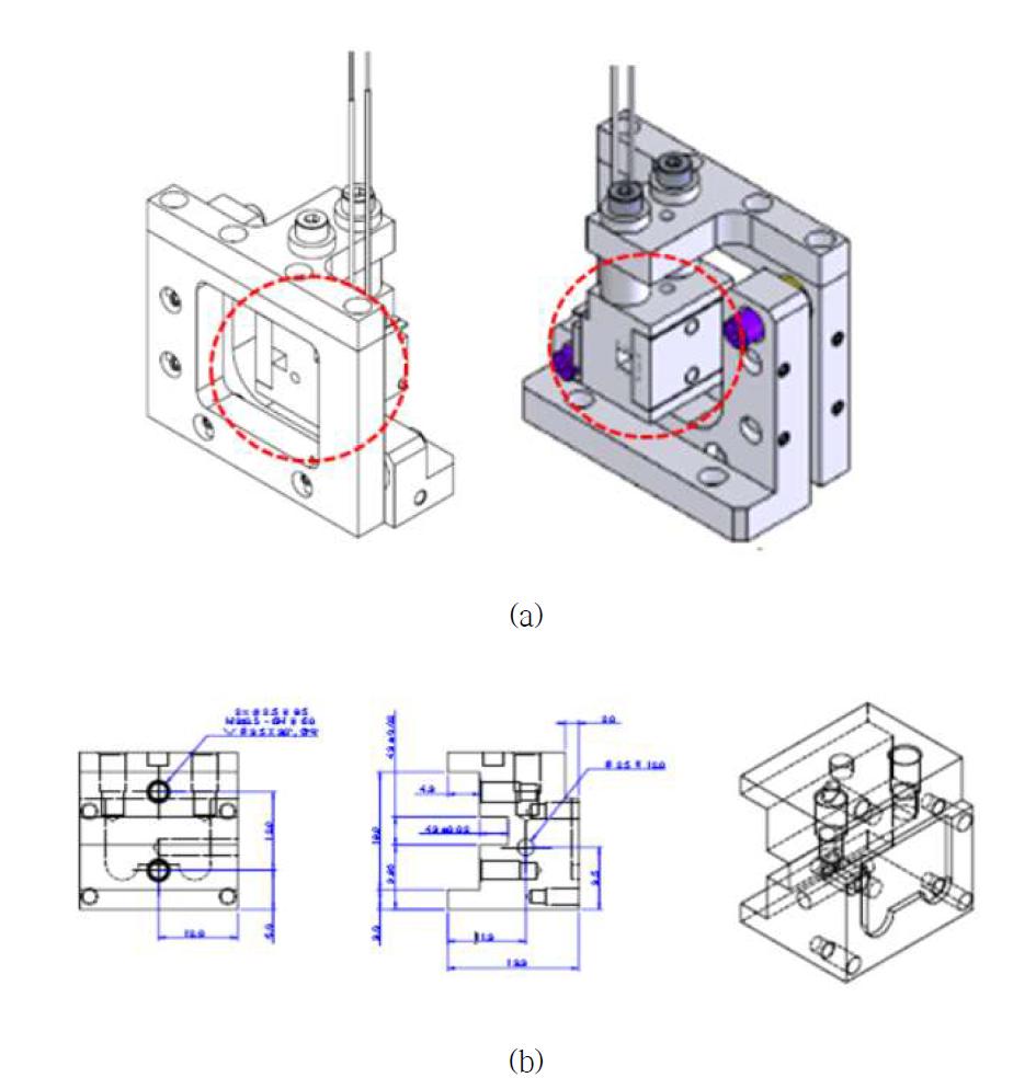 비선형 단결정이 장착용 오븐 설계도 (a) 오븐 조립도, (b) 비선형 단결정이 장착된 부분 설계도