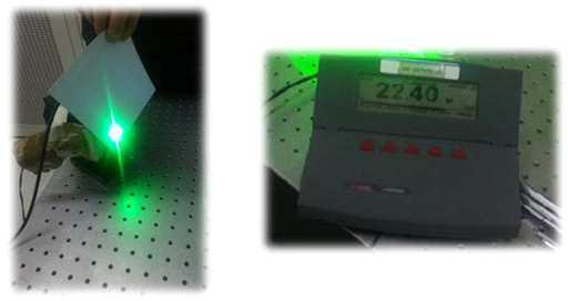 2차/3차 고조파 생성장치 성능 확인 사진: DPSSL레이저 시스템(100W급, 1064nm, pulsed, pulse width~80ns, PRR:8kHz)