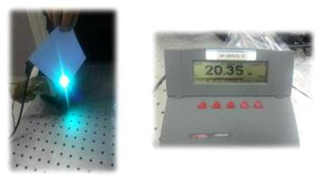 3차 고조파 생성장치 성능 확인 사진: DPSSL레이저 시스템(100W급, 1064nm, pulsed, pulse width~80ns, PRR:8kHz)