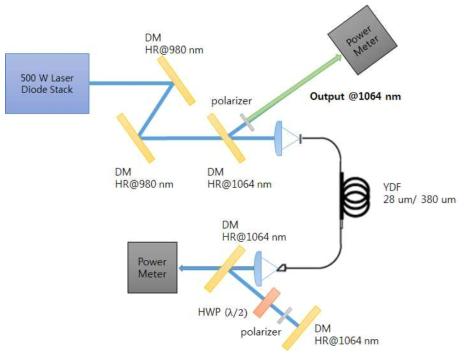 100 W 급 단일 편광 레이저 시스템의 구조