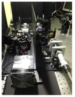 100 W 급 단일 편광 레이저의 실험 셋업