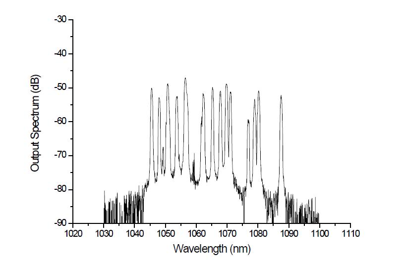 100 W 급 단일 편광 레이저의 출력스펙트럼