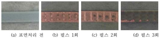 레이저 표면처리 횟수에 따른 실리콘 고무의 구리 도금 시편