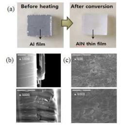 (a) AlN 박막 합성 전후의 이미지와 (b), (c) 합성된 AlN 박막의 측면과 표면의 SEM 이미지