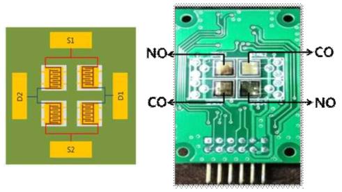 2×2 센서 어레이 설계 도면 및 제작된 센서 어레이 사진