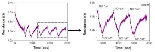 2 ppm NO 가스에 반응하는 NO 센서의 동작특성