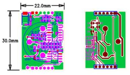 시험용 전기화학식 CO 센서 모듈 회로 기판의 전면과 후면 사진