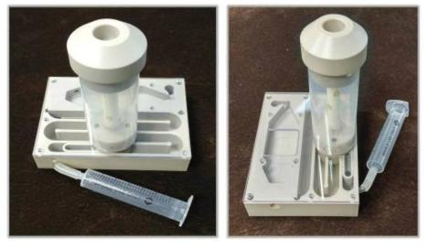 Prototype 복합센서 플랫폼의 chamber body에 호기관이 결합된 모습