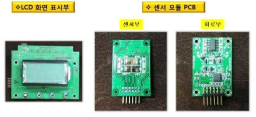 Prototype 복합센서 플랫폼 LCD 표시부 및 센서 모듈 사진