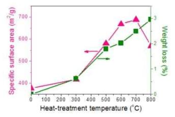 열처리 온도에 따른 SWCNT의 BET와 TG 분석 결과