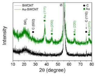 금 나노입자가 기능화된 SWCNT의 XRD실험결과