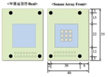 3×3 센서 어레이 모듈의 설계 도면