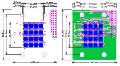 AutoCad로 설계된 4×4 센서 어레이 모듈의 (좌) top layer (우) top pattern layout