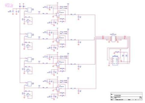 새로 설계된 2×2 센서 어레이 모듈의 회로 설계도면.