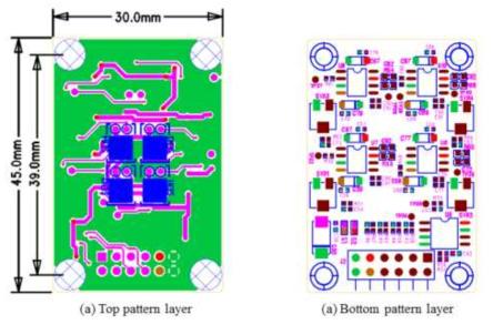 2×2 센서 어레이 모듈의 전면(top side)과 후면 (bottom side)의 layout