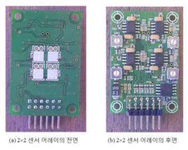 제작된 2×2 센서 어레이 모듈 사진