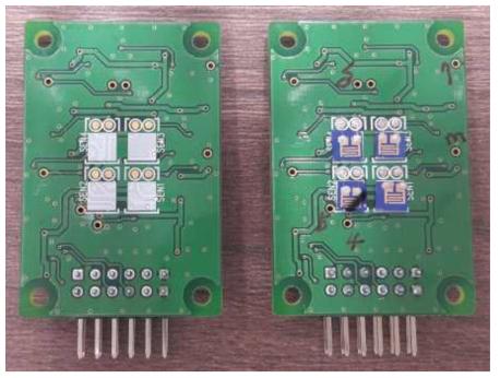 NO 센서칩이 2×2 센서 어레이 모듈에 장착되기 전후 의 사진