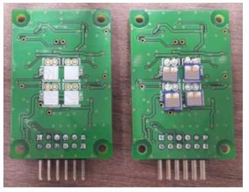 센싱영역이 증가되도록 새로 설계 및 제 작된 shadow mask를 이용하여 제작된 NO 센서칩 이 2×2 센서 어레이 모듈에 장착되기 전후에 사 진