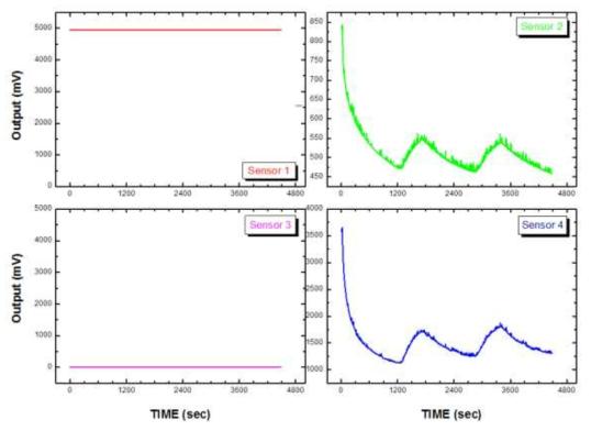 NO 가스 농도가 10 ppb 일 때 2×2 센서 어레이 모듈의 측정 결과