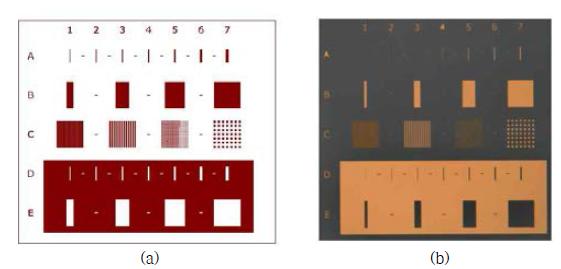 선폭 인증표준물질의 양각/음각 선폭 및 격자 피치 패턴.