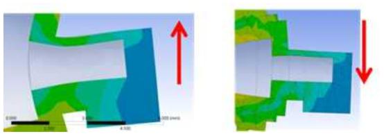 금속 다이아프램에서의 외력에 의한 표면 응력분포 형태