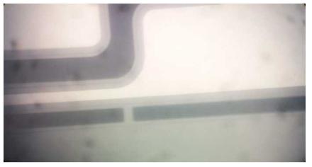 Wafer상에서 센서와 브릿지 된 연결 구조 사진