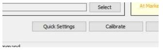 활성화 된 Quick Settings, Calibrate 버튼