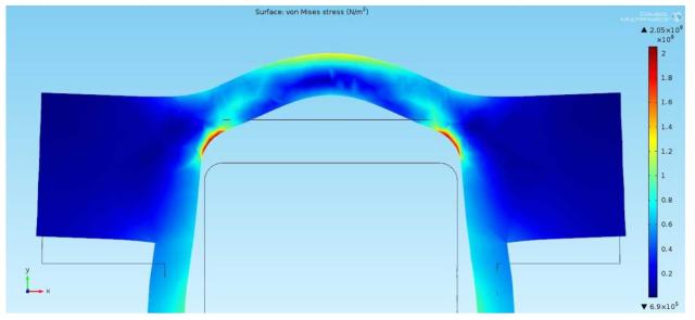 금속 다이아프램에서의 표면 응력분포 형태