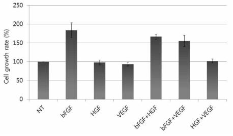성장인자 종류별 인간 간엽줄기세포의 세포 증식률 비교