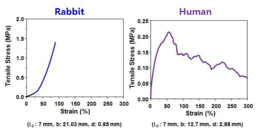 동물 및 인체 기관 응력-신장률 곡선 (시료, 튜브 형태)