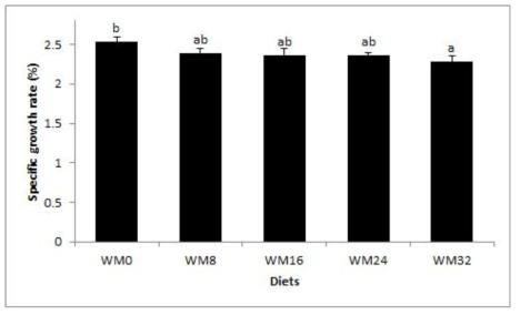 조피볼락 치어의 일간성장율(%)