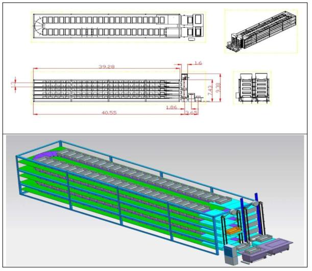 곤충 대량 생산 시스템의 설계도 및 사시