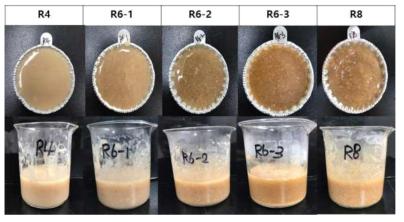 열처리 이유식 R4, R6-1, R6-2, R6-3, R8을 분쇄한 후의 외관
