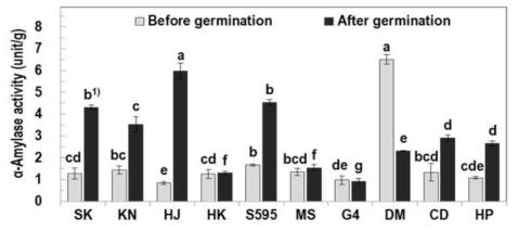 일반현미 및 발아현미의 α-amylase 활성