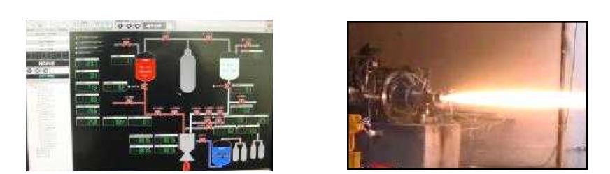 실추진제 액체로켓엔진 연소실험 제어 화면 및 화염 사진(예, 충남대)