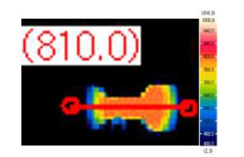 Specimen temperature measurement verification test through visualization window