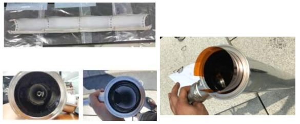 관로형 자외선 소독 시스템 내 향균 소재 결합 사진(좌: 2차년도, 우: 3차년도)