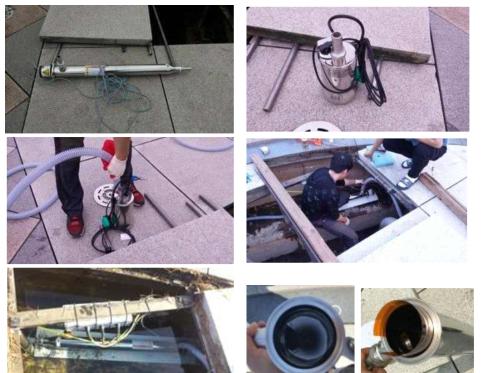 UNIST 바닥분수 내 관로형 자외선 소독 시스템 설치 사진